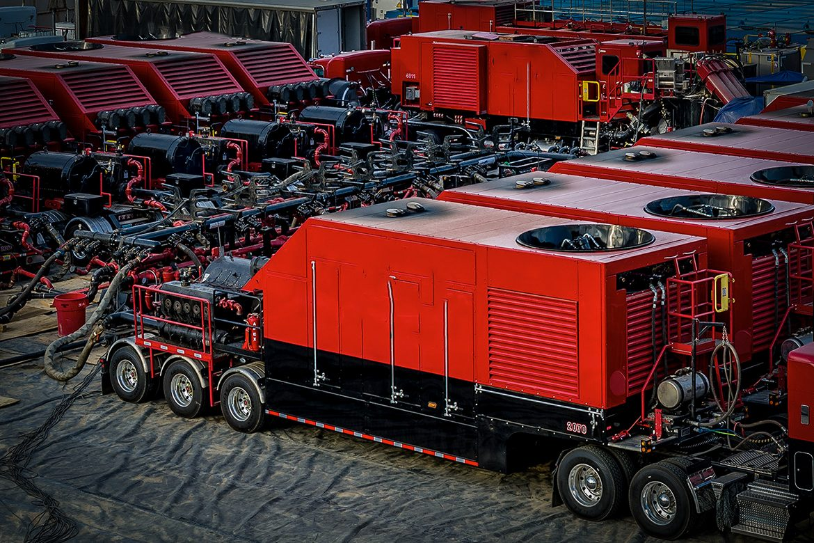 A fleet of Liberty frac pumps with AFEX fire suppression systems installed, oil, energy and gas