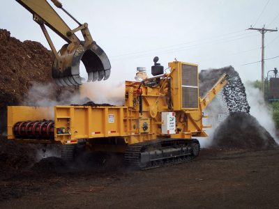 Forestry heavy equipment creating mulch